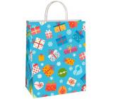 Ditipo Dárková papírová taška EKO 22 x 10 x 29 cm modrá barevné dárečky