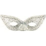 Škraboška s glitry kočičí oči Stříbrná vhodná pro dospělé 1 kus