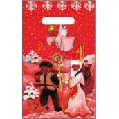 Anděl Igelitová taška červená čert, Mikuláš, anděl, pes 32 x 20 cm