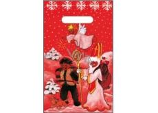 Anděl Igelitová taška 32 x 20 cm červená čert, Mikuláš, anděl, pes