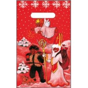Taška igelitová červená čert, Mikuláš, anděl, pes 32 x 20 cm