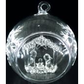 Koule skleněná s betlémem 9 cm
