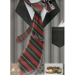 Nekupto Dárková papírová taška střední 1054 02 BL kravata 32,5 x 26 x 13 cm
