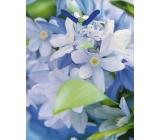 Nekupto Dárková papírová taška střední 23 x 18 x 10 cm modrá bílé květy 1 kus 983 40 BM