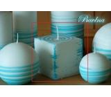 Lima Aromatická spirála Bavlna svíčka bílo - tyrkysová krychle 65 x 65 mm 1 kus