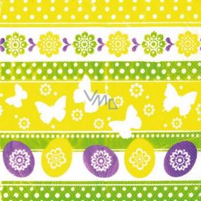 Ditipo Papírové ubrousky 3 vrstvé 33 x 33 cm 20 kusů Velikonoční Vajíčka, motýlci, kytky