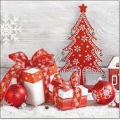 Aha Vánoční papírové ubrousky Červený stromek, mašle a ozdoby 3 vrstvé 33 x 33 cm 20 kusů