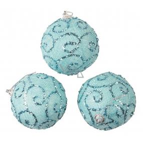 Baňky modré s glitry 8 cm, 3 kusy