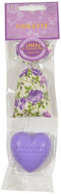 Le Chatelard Duftsack 7g + Herzform mit Seife 25g - Violett 4223