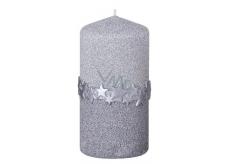 Arome Hvězdný pásek svíčka stříbrná válec 60 x 120 mm 260 g