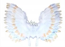Křídla andělská s peřím bílo-zlatá 67 x 46 cm