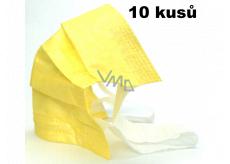 Rouška 3 vrstvá ochranná zdravotní netkaná jednorázová, nízký dýchací odpor 10 kusů žlutá 99% se širokými gumičkami