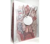 Epee Dárková papírová taška 26,5 x 32,5 x 12,7 cm Vánoční Stříbrná nohy, kočka, dárky 002 LUX velká