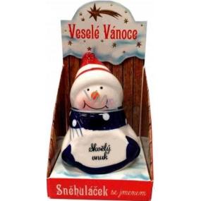 Sněhuláček s věnováním Skvělý vnuk vánoční dekorace rozměr 8 cm