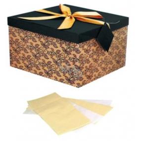 Anděl Dárková krabička skládací s mašlí tmavě hnědá s béžovou L 22 x 22 x 13 cm 1 kus