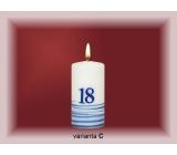 Lima Jubilejní 18 let svíčka bílá zdobená 50 x 100 mm 1 kus