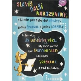 Albi Hrací přání do obálky K narozeninám Pes s transparentem Verona za všechno může čas 14,8 x 21 cm