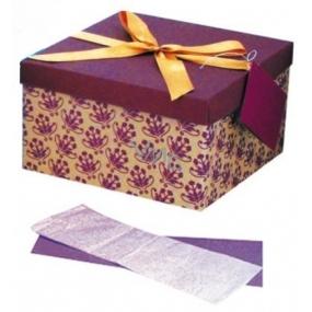 Dárková krabička skládací s mašlí celoroční žluo-fialová L 22 x 22 x 13 cm