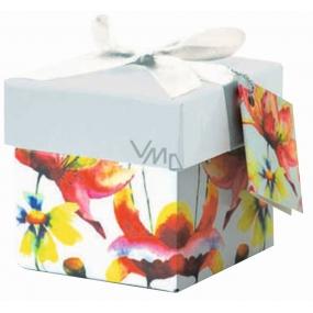 Dárková krabička skládací s mašlí 03 Květy Mini 7 x 7 x 7 cm