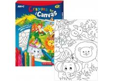 Amos Rámeček s plátnem ZOO + krajony 8 barev 28 x 20 cm + dárek