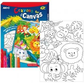 Amos Rámeček s plátnem ZOO+ krajony 8 barev 28x20cm + Dárek
