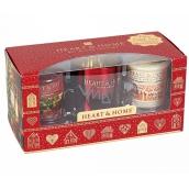 Heart & Home Hřejivé Vánoce+Perníková chaloupka Sojová vonná svíčka bez obalu hoří až 15 hodin 2 x 53 g + svícen, dárková sada