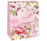 Ditipo Dárková papírová taška střední růžová, květy 18 x 10 x 22,7 cm C