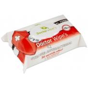Doctor Wipes Antibacterial s obsahem chlorexidinu vlhčené antibakteriální ubrousky s klipem 72 kusů