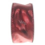 Ditipo Stuha látková s drátkem červená lesklá 3 m x 25 mm