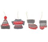 Dekorace pletená, k pověšení 9 cm 1 kus