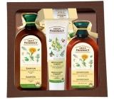 Green Pharmacy Měsíček a Rozmarýnový olej šampon pro mastné vlasy 350 ml + kondicionér na mastné vlasy 300 ml + Olivový olej a goji krém na ruce 100 ml + Aloe a limetka balzám na rty 3,6 g, kosmetická sada