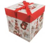 Dárková krabička skládací s mašlí Vánoční s dárky a ozdobami 21,5 x 21,5 x 21,5 cm