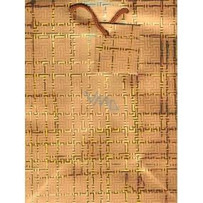 Nekupto Dárková papírová taška střední 23 x 18 x 10 cm Zlatá se čtverečky 074 03 GM