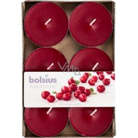 Bolsius Aromatic Maxi Wild Cranberry s vůní brusinek vonné čajové svíčky 6 kusů, doba hoření 8 hodin