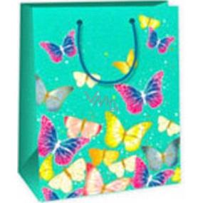 Ditipo Dárková papírová taška 18 x 10 x 22,7 cm světle zelená motýlci