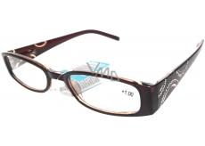 Berkeley Čtecí dioptrické brýle +1,0 hnědé stranice s kamínky 1 kus MC2154