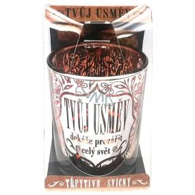 Albi Třpytivý svícen ze skla na čajovou svíčku TVŮJ ÚSMĚV dokáže rozzářit celý svět, 7 cm