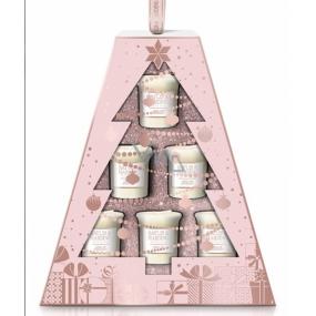 Baylis & Harding Jojoba, Hedvábí a Mandlový olej vonná votivní svíčka 6 kusů x 50 g, 1 svíčka hoří až 6 hodin, dárková sada