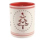 Svícen keramický bíločervený se stromečkem 9 cm