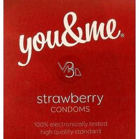 You & Me Strawberry průhledný lubrikovaný kondom s vůní jahod 3 kusy