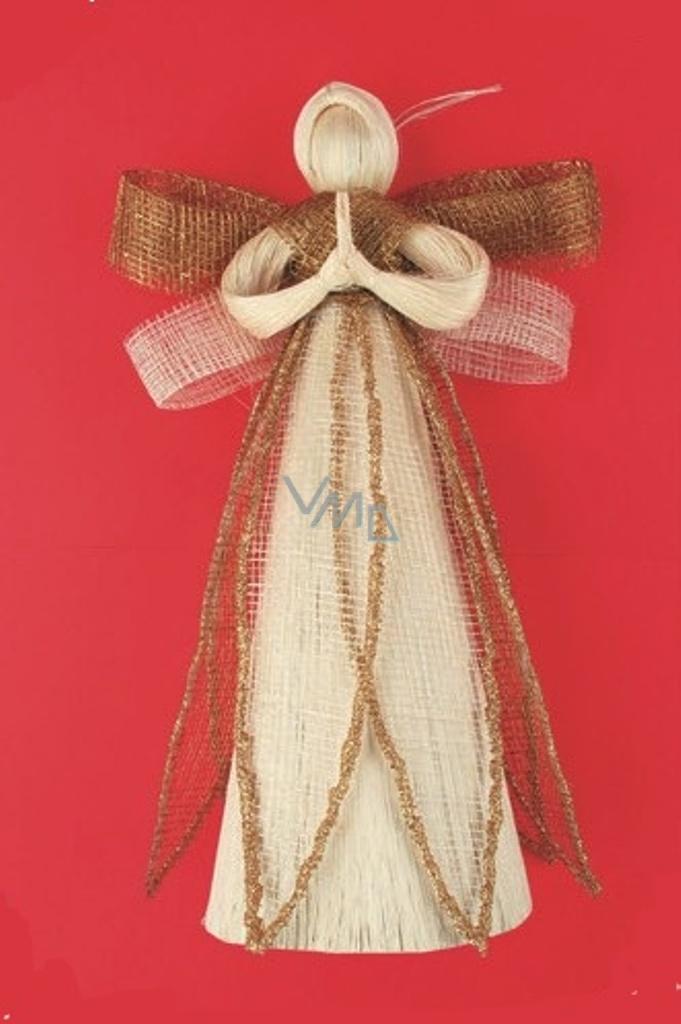 Andílek z banánovníku se zlatými křídly a glitry lemovanou sukní 25 cm