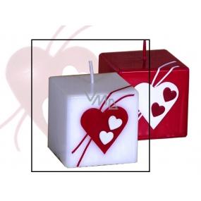 Lima Valentýnská svíčka bílá srdce krychle 65 x 65 mm 1 kus