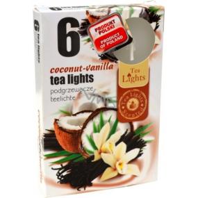 Tea Lights Coconut - Vanilla s vůní kokosu a vanilky vonné čajové svíčky 6 kusů