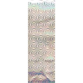Nekupto Dárková papírová taška na láhev 33 x 10 x 9 cm Stříbrná hologramová 050 02 THLH