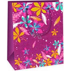 Ditipo Dárková papírová taška 11,4 x 6,4 x 14,6 cm fialová barevné listy