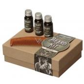 Apothecary87 Pečující olej na vousy 3 x 10 ml + hřeben, kosmetická sada na vousy