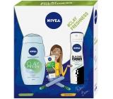 Nivea Clay Fresh Zázvor & Bazalka sprchový gel s jílem 250 ml + Black & White Fresh antiperspirant sprej pro ženy 150 ml + Urban Skin Detox 3v1 čistící krém 150 ml, kosmetická sada