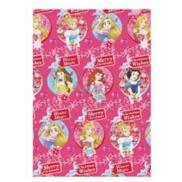Ditipo Disney Princess Vánoční balicí papír pro děti tmavě růžový Princezny Winter Magic 2 m x 70 cm