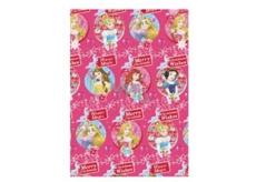 Ditipo Dárkový balicí papír 70 x 200 cm Vánoční Disney Princezny Winter Magic tmavě růžový