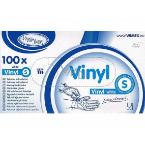 Wimex Rukavice hygienické jednorázové vinylové pudrované bílé, velikost S, box 100 kusů